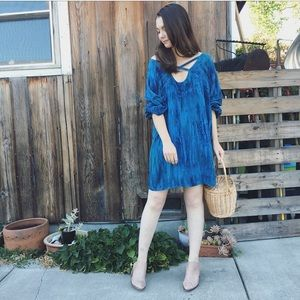 Vintage blue wave oversized draped tunic dress